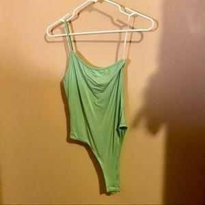 NWOT SHEIN Green One Shoulder Fitted Bodysuit